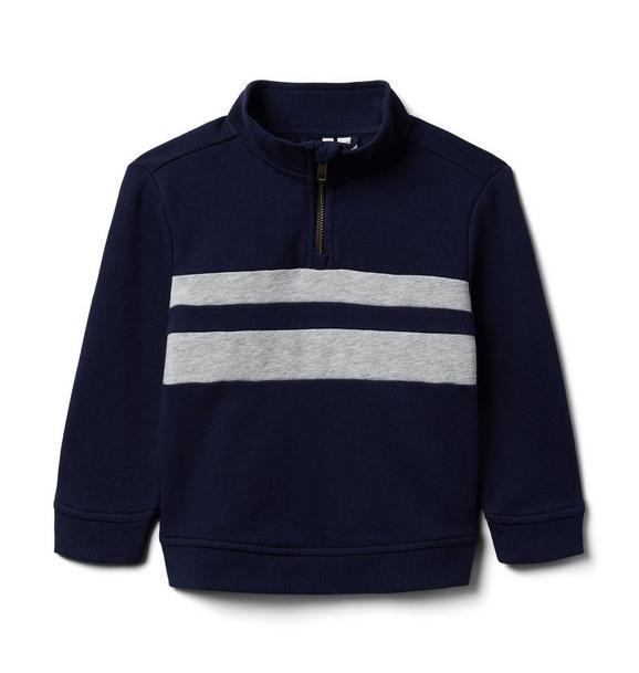 Striped Half-Zip Sweatshirt