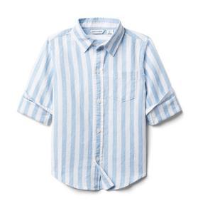 Striped Linen Roll-Cuff Shirt