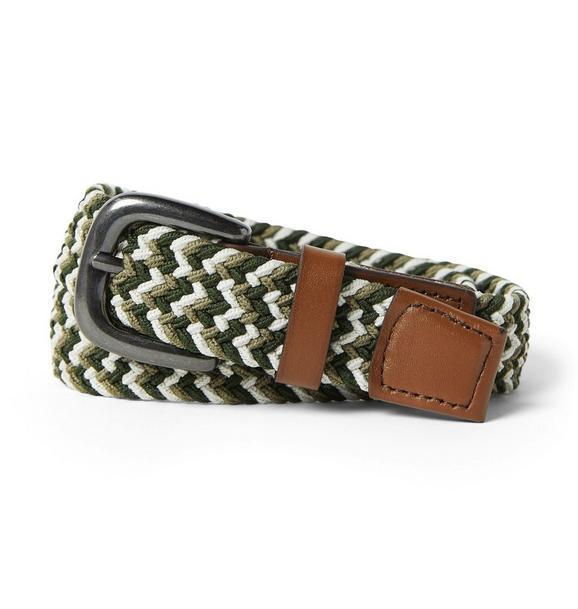 Braided Leather Trim Belt