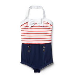 Striped Bow Swimsuit