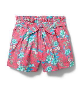 Floral Paperbag Waist Short