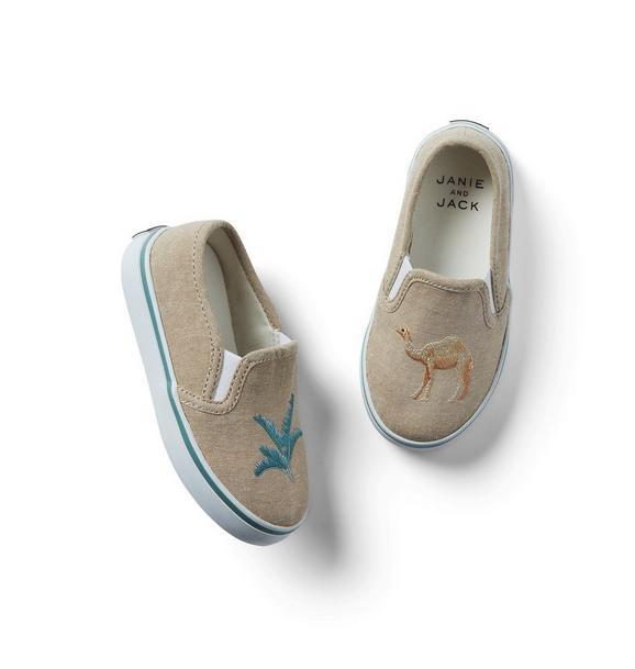 Embroidered Camel Slip-On Sneaker