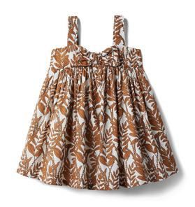 Vine Print Bow Front Dress