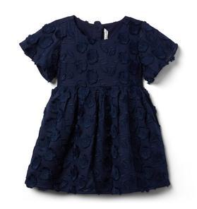 Clipped Fringe Floral Jacquard Dress
