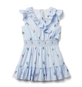 Floral Striped Ruffle Dress