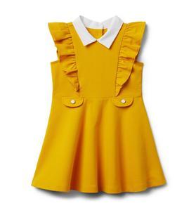 Collared Ruffle Ponte Dress