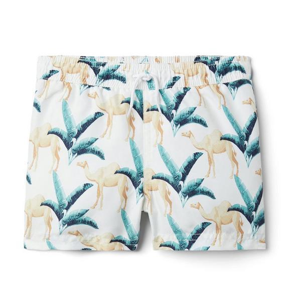 Camel Print Swim Trunk