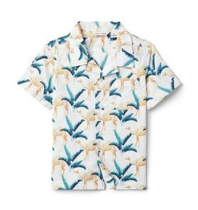 Camel Print Poplin Shirt