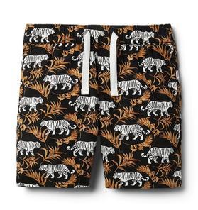 Tiger Poplin Pull-On Short