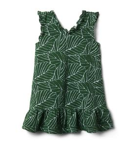 Leaf Ruffle Trim Dress