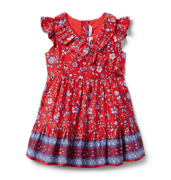 Floral Ruffle Trim Dress