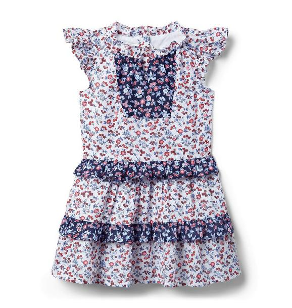 Ditsy Floral Colorblocked Ruffle Dress