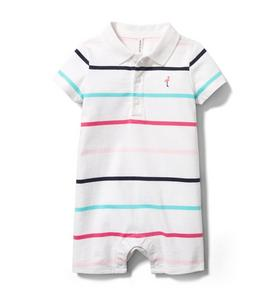 Baby Striped Polo Romper