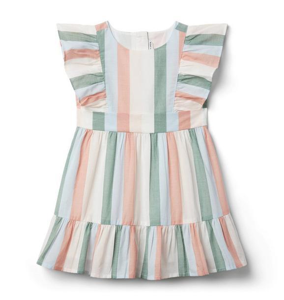 Striped Ruffle Trim Dress