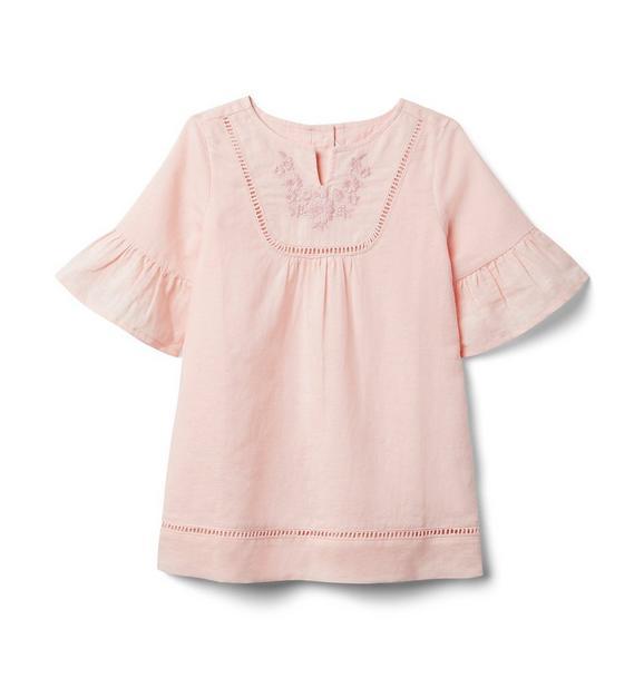 Embroidered Ruffle Sleeve Dress