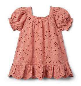 Eyelet Puff Sleeve Dress