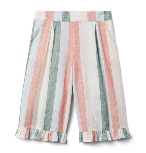 Striped Ruffle Wide-Leg Pant