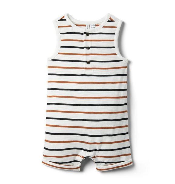 Baby Striped Roll-Cuff Romper