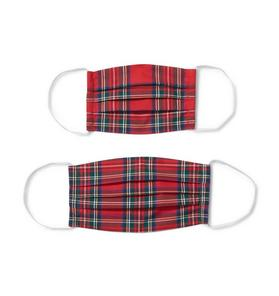 Adult And Kid Holiday Red Plaid Mask 2-Pack