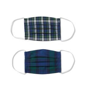 Kid Holiday Blue Plaid Mask 2-Pack