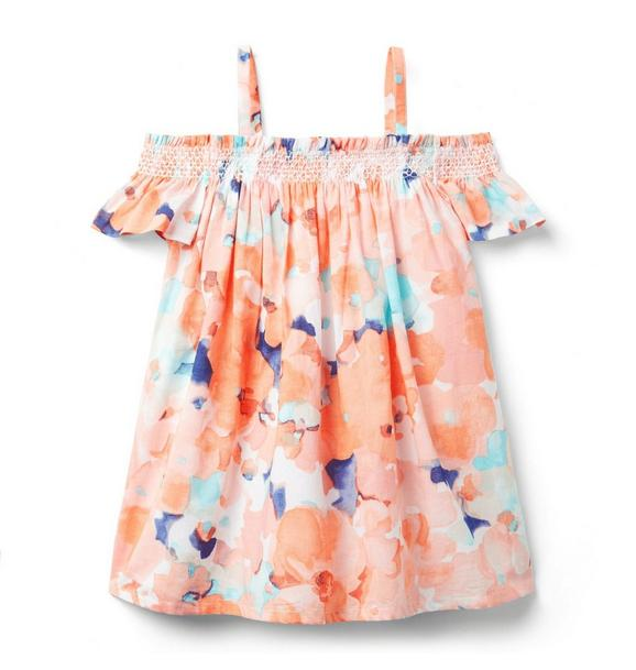 Watercolor Cold Shoulder Dress