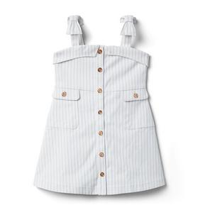 Striped Bow Strap Button Front Dress