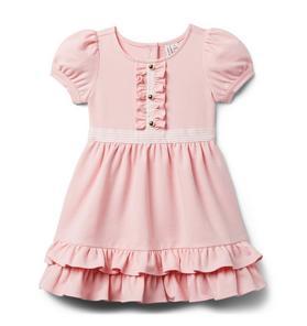 Puff Sleeve Ruffle Ponte Dress