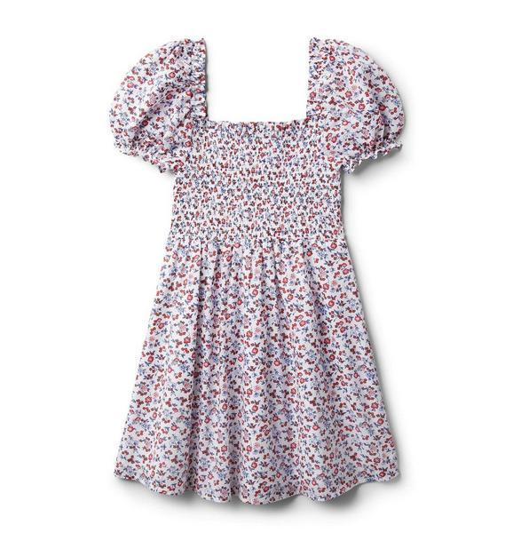 Ditsy Floral Smocked Puff Sleeve Dress