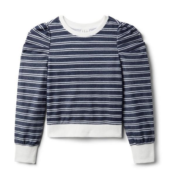 Striped Textured Puff Sleeve Sweatshirt