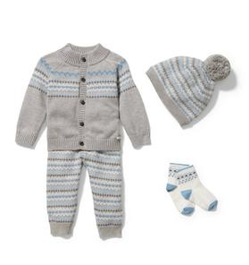 Baby 4-Piece Grey Fair Isle Gift Box