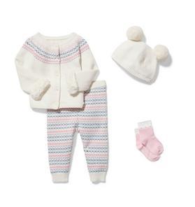 Baby 4-Piece Cream Fair Isle Gift Box