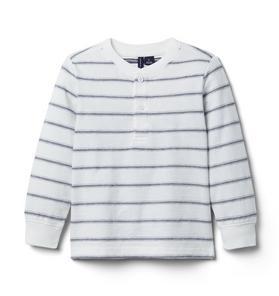 Striped Textured Henley Tee