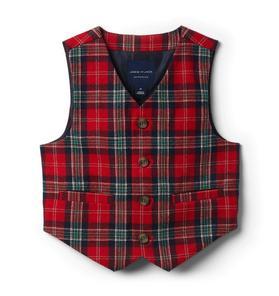 Plaid Wool Suit Vest