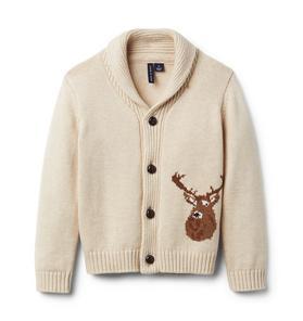 Reindeer Shawl Collar Cardigan