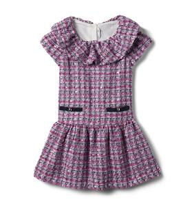 Ruffle Collar Bouclé Dress