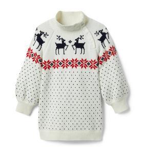 Fair Isle Reindeer Sweater Dress