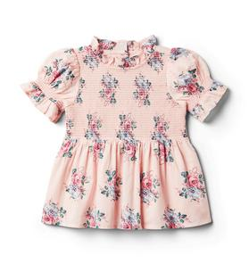 Floral Puff Sleeve Smocked Top