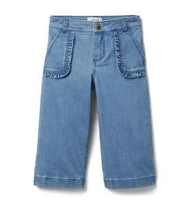 Ruffle Pocket Wide Leg Jean