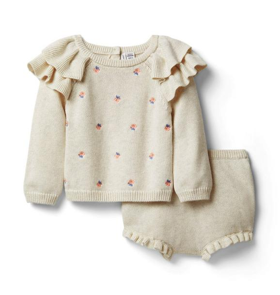 Baby Embroidered Sweater Matching Set