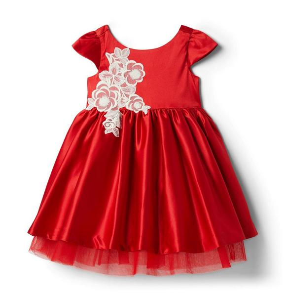 Janie and Jack Flower Applique Satin Dress