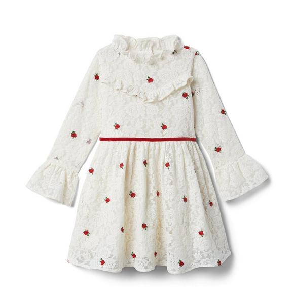 Janie and Jack Lace Rose Embroidered Dress
