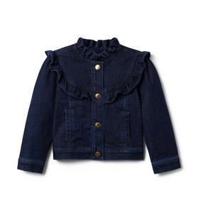 Ruffle Trim Denim Jacket