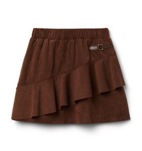 Faux Suede Ruffle Skirt
