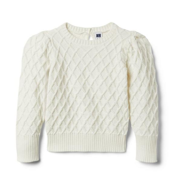 Janie and Jack Textured Puff Sleeve Sweater