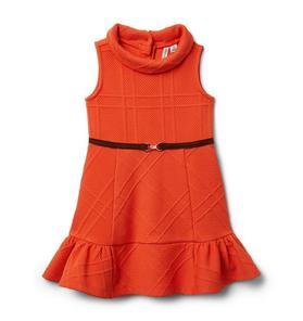 Ruffle Hem Jacquard Dress