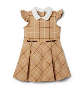 Check Collared Ponte Dress