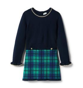 Plaid Colorblocked Sweater Dress