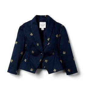 Glitter Floral Peplum Jacket