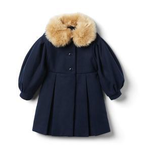 Balloon Sleeve Faux Fur Collar Coat