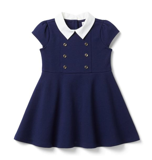 Janie and Jack Button Collared Ponte Dress